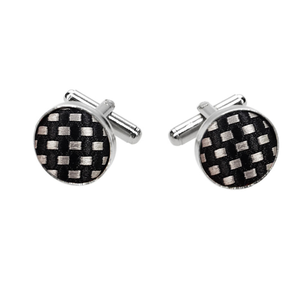 Black and silver fabric cufflinks
