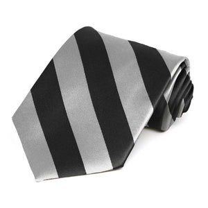 Black and Silver Extra Long Striped Tie
