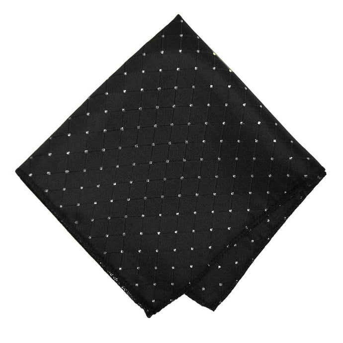Black and Silver Danbury Grid Pocket Square