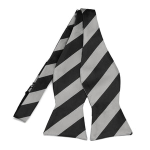 Black and Silver Striped Self-Tie Bow Tie