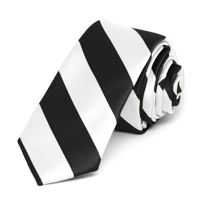 Black and White Striped Skinny Tie, 2