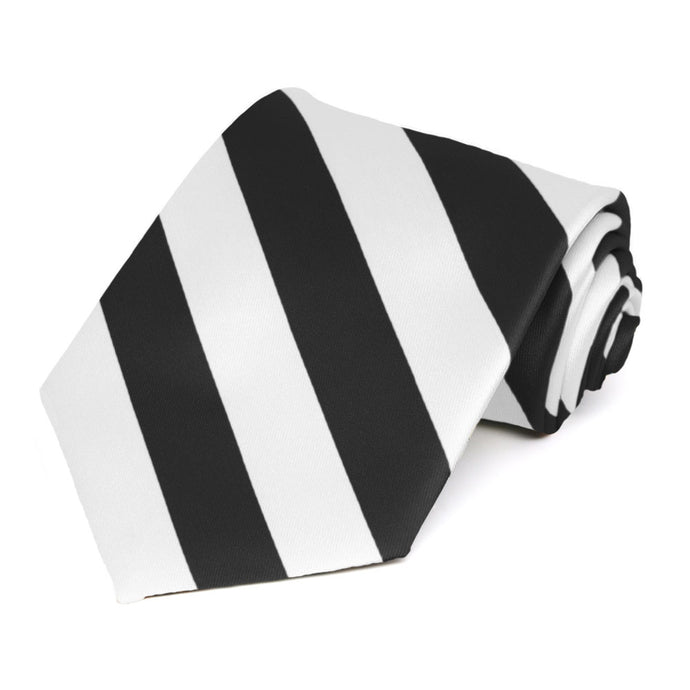 Black and White Extra Long Striped Tie