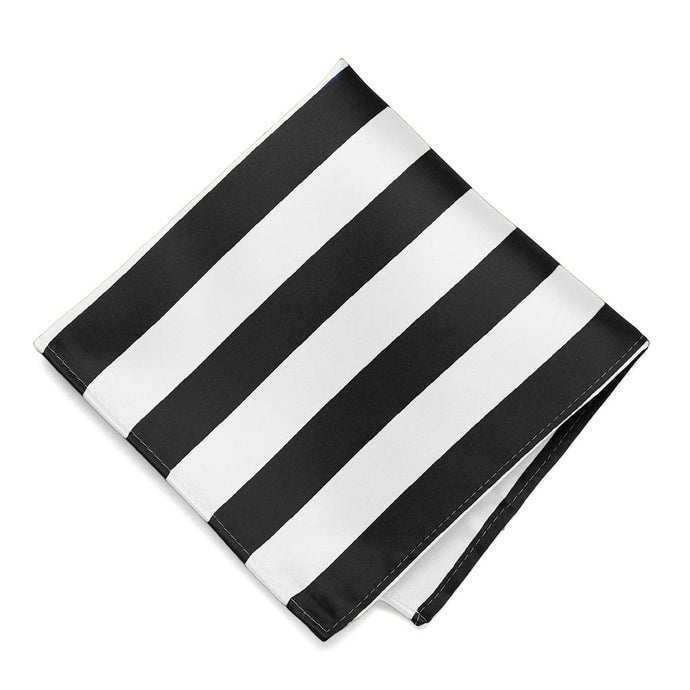 Black and White Striped Pocket Square