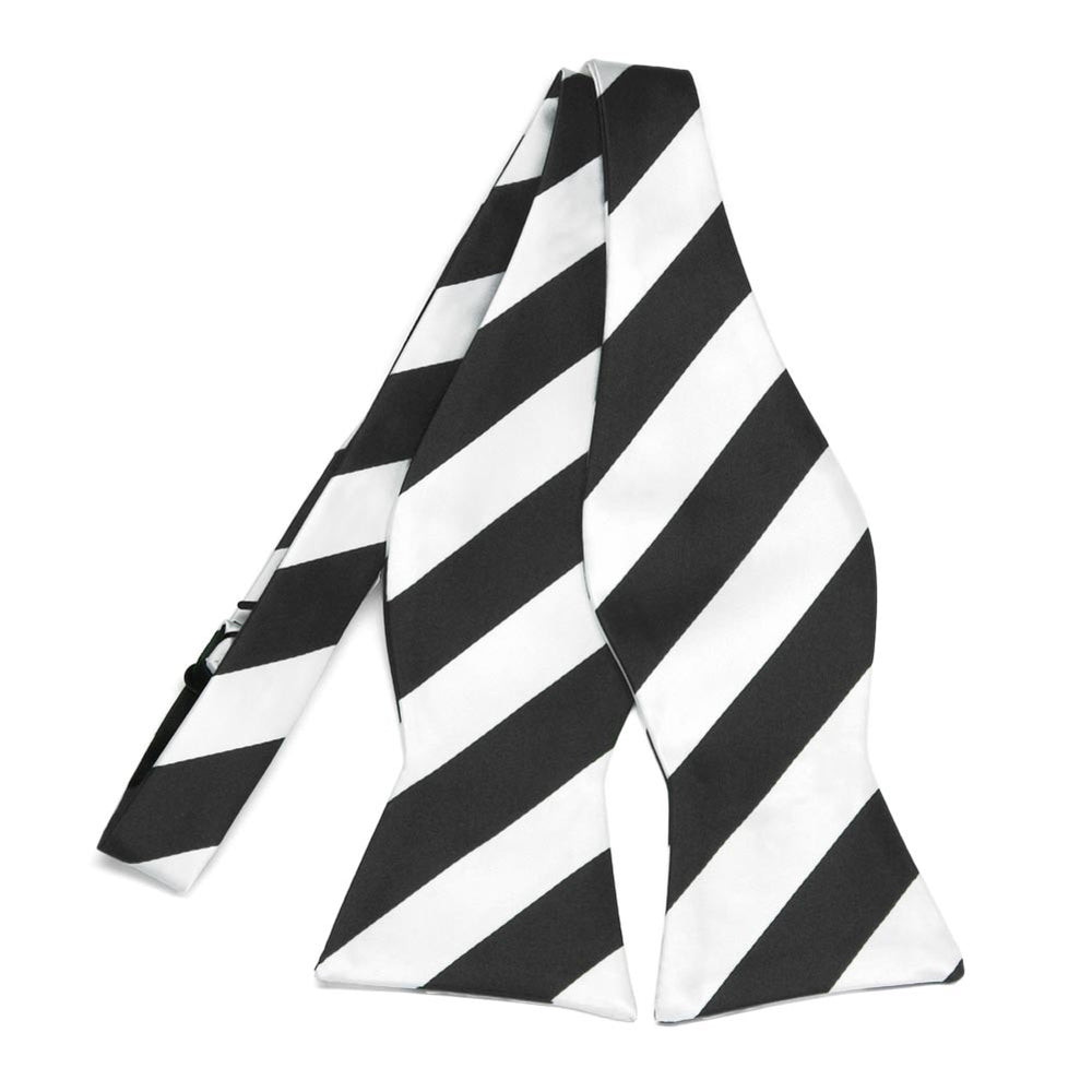 Black and White Striped Self-Tie Bow Tie