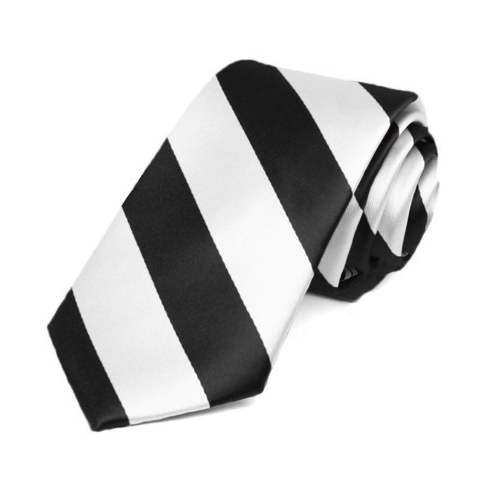 Black and White Striped Slim Tie, 2.5