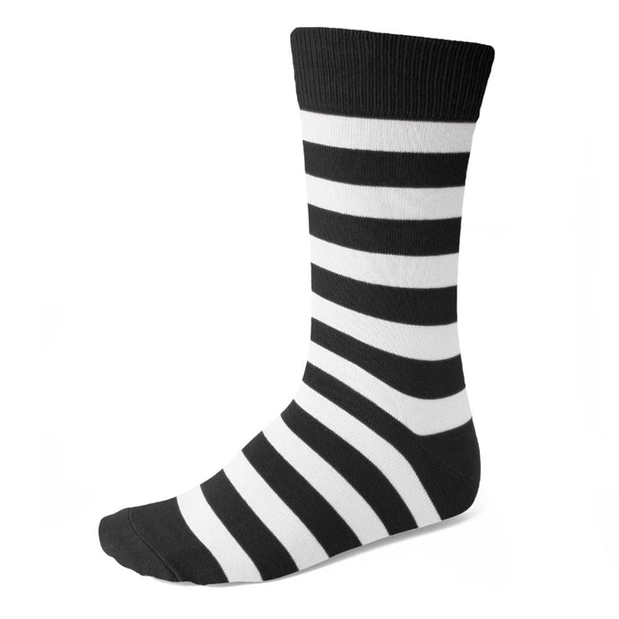 Men's Black and White Striped Socks