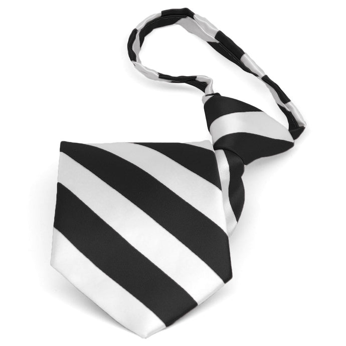 Pre-tied black and white striped zipper tie