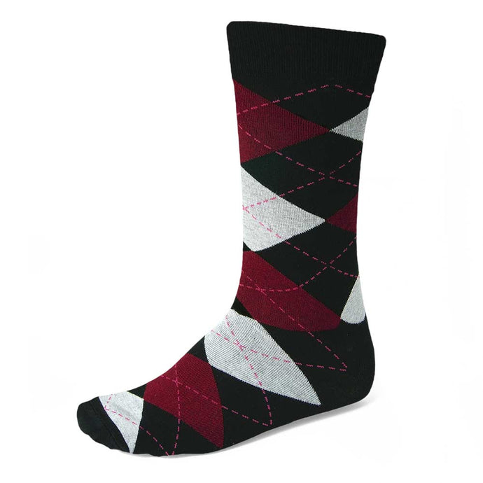 Men's Black and Burgundy Argyle Socks