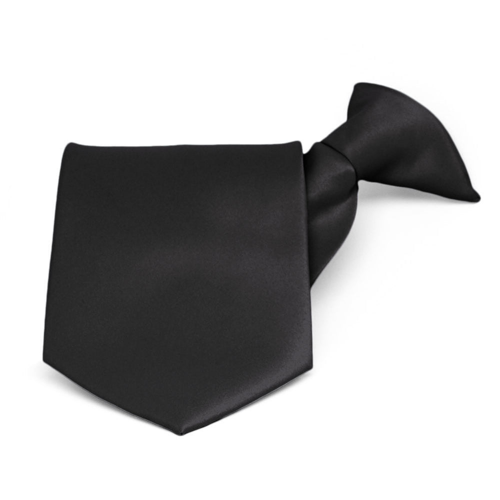 Black Solid Color Clip-On Tie