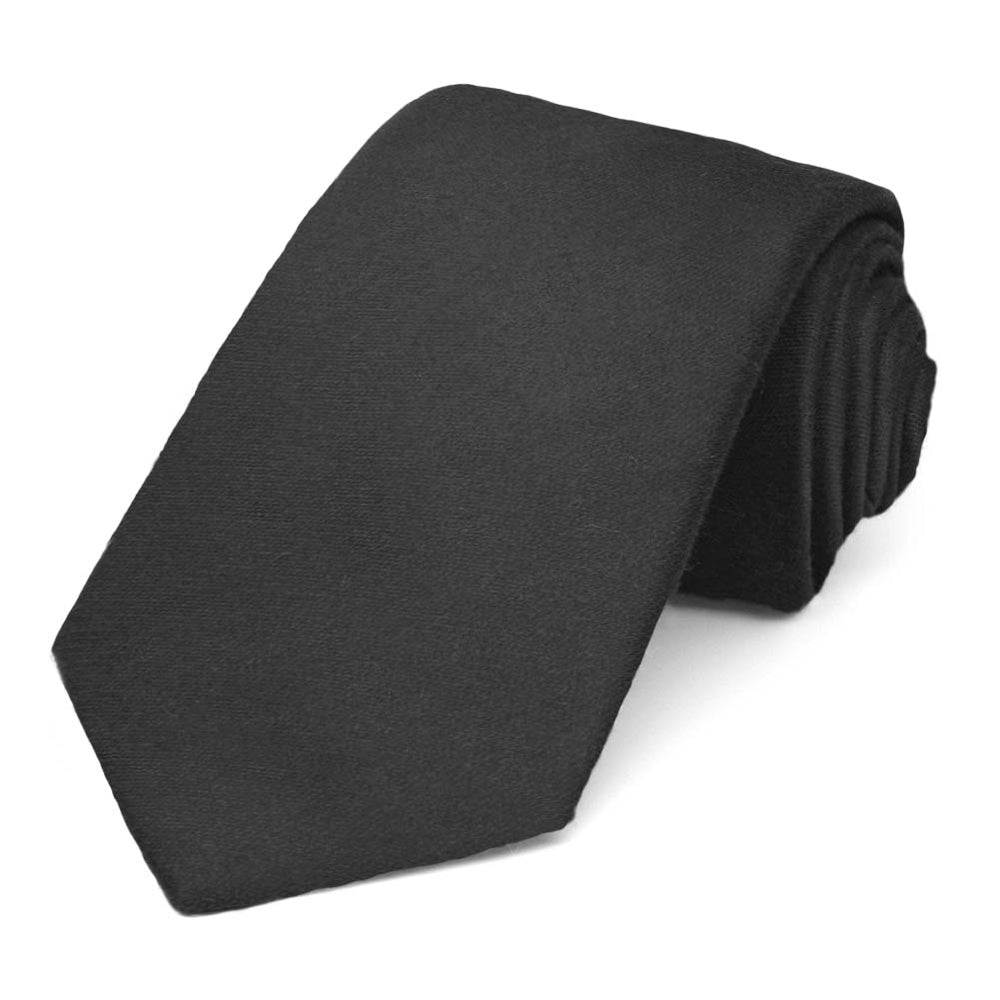 Black Cotton/Silk Narrow Necktie, 3