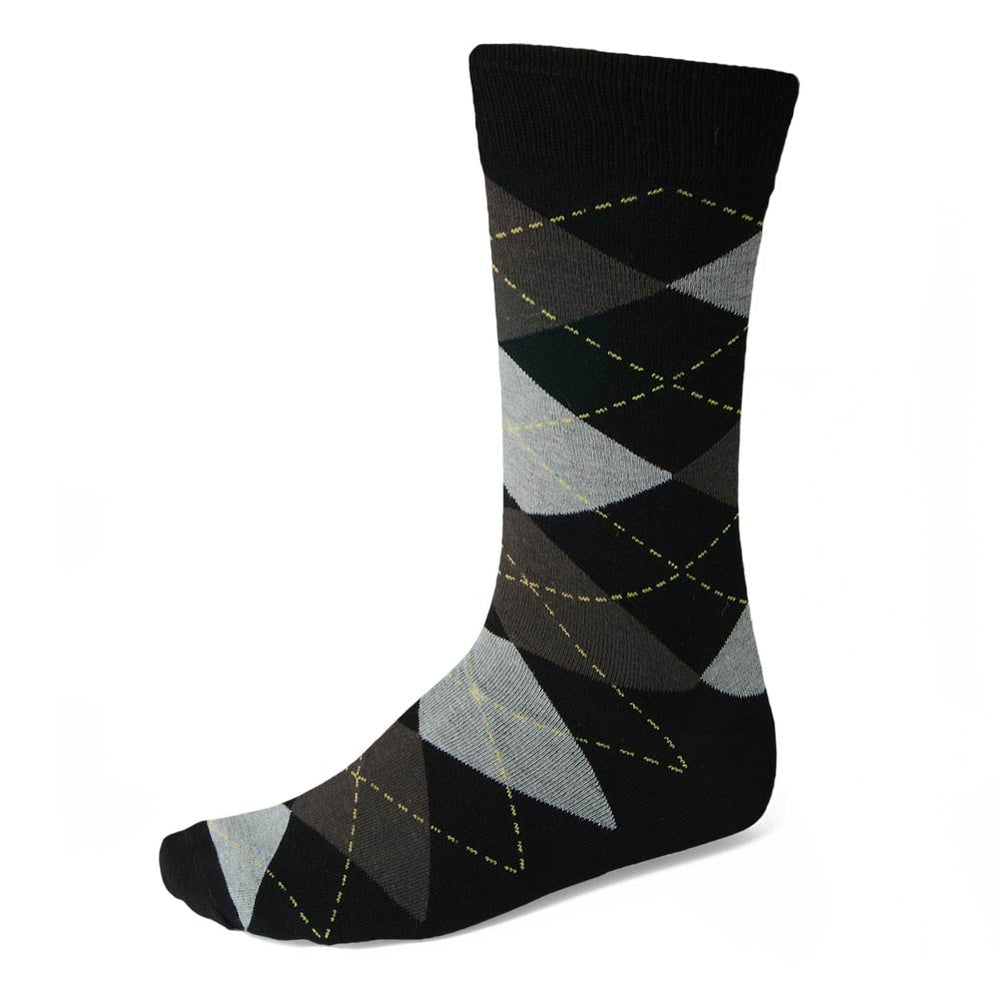 Men's Black and Graphite Gray Argyle Socks