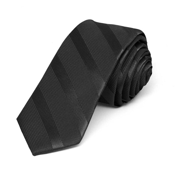 Black Elite Striped Skinny Necktie, 2