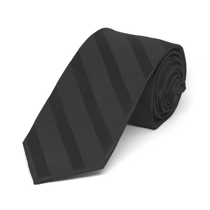 Black Elite Striped Slim Necktie, 2.5