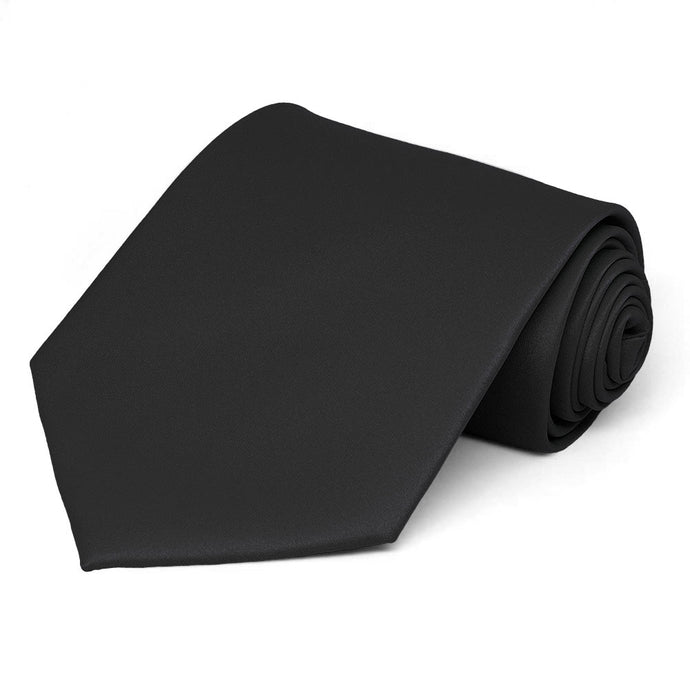 Black Extra Long Solid Color Necktie