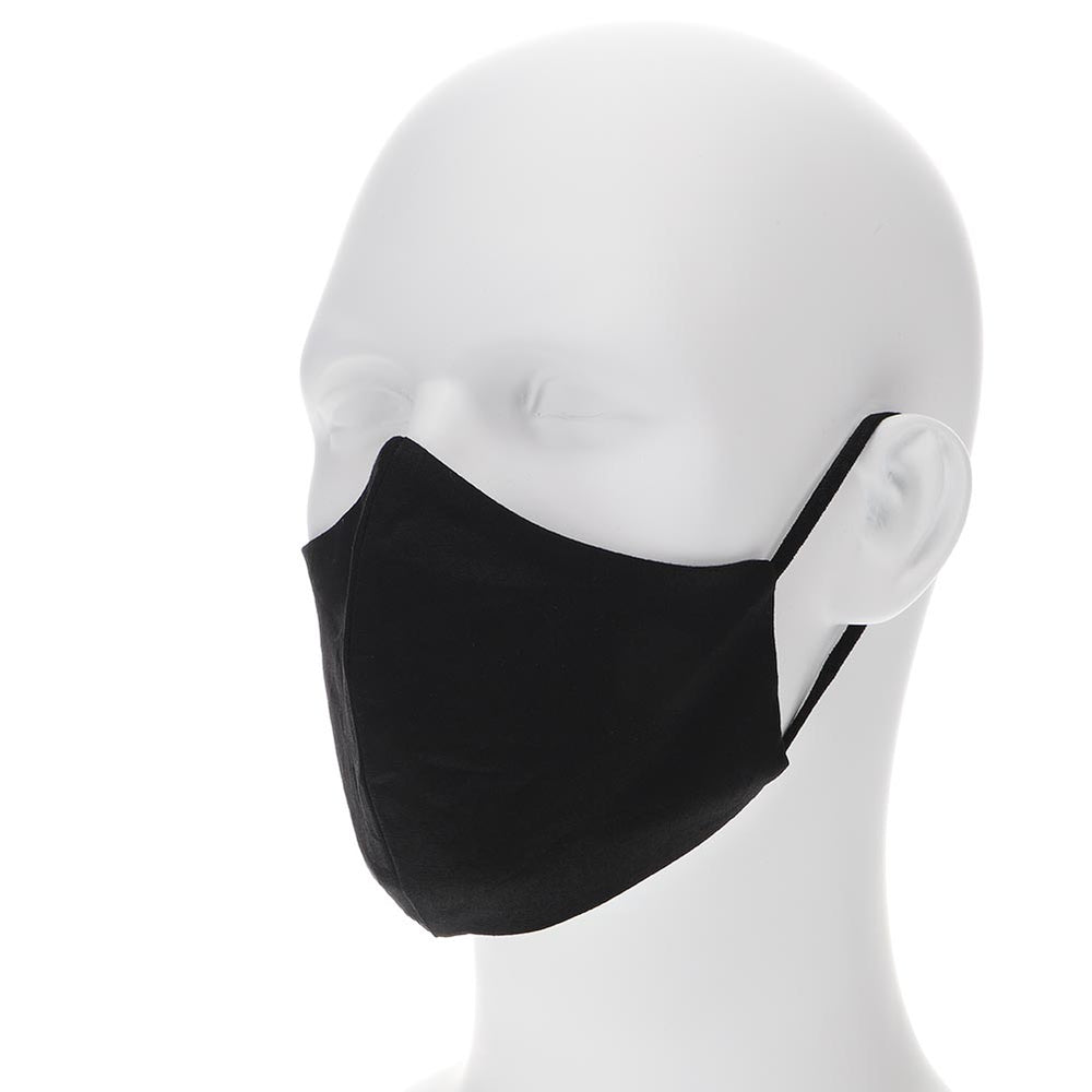 Black adult face mask on a mannequin with filter pocket