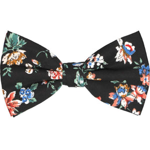 Black colorful floral bow tie