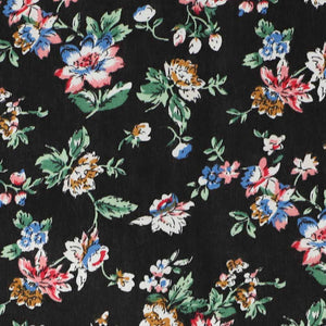 Closeup black colorful floral fabric
