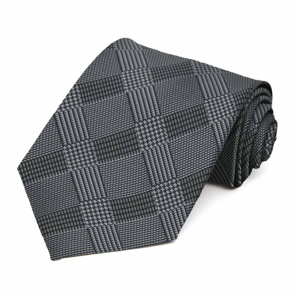TieMart Boys Black Michael Glen Plaid Necktie