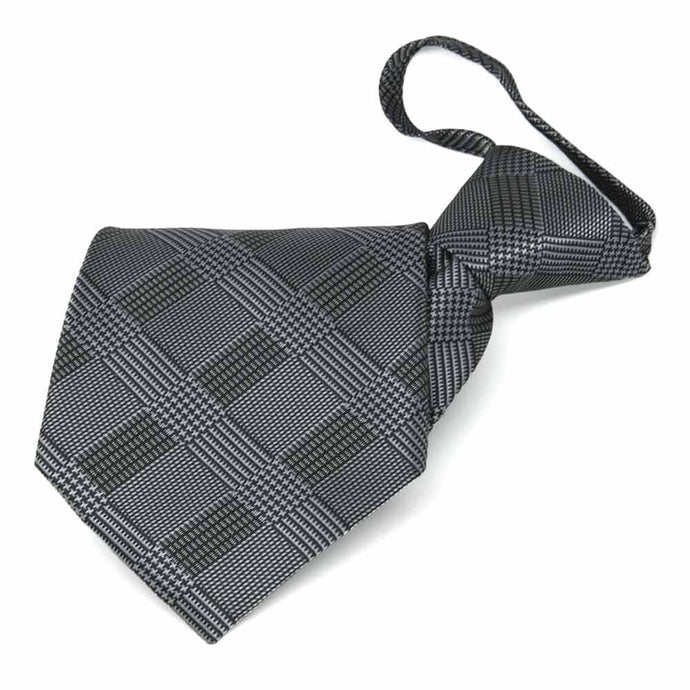 Black Michael Glen Plaid Zipper Tie