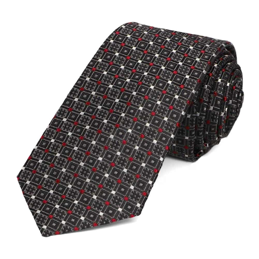Black hashtag pattern slim tie