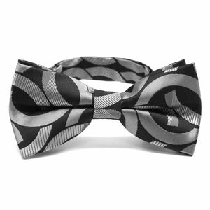 Black Kay Link Pattern Band Collar Bow Tie