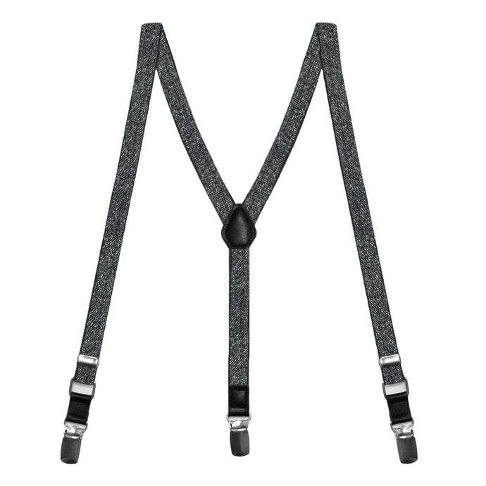 Black Metallic Skinny Suspenders
