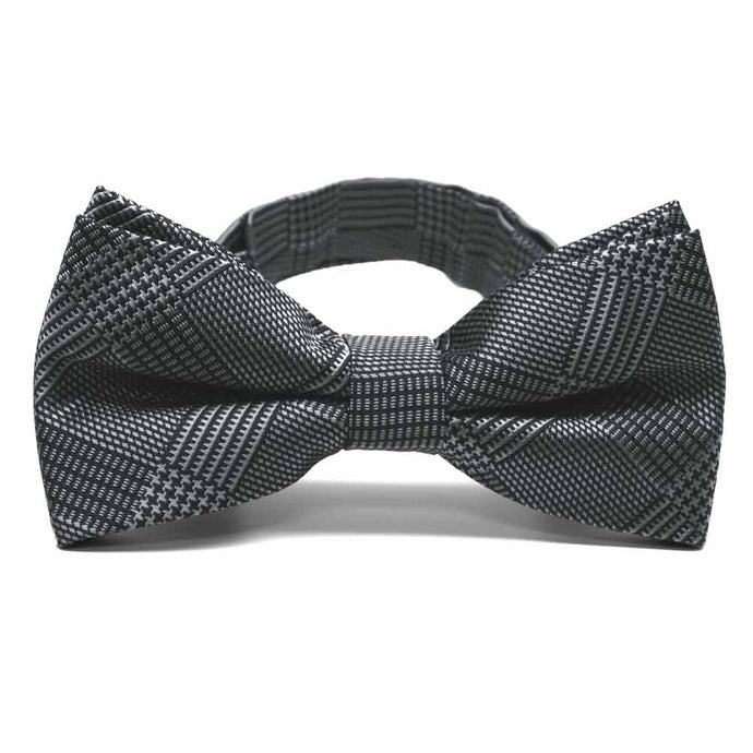 Black Michael Glen Plaid Band Collar Bow Tie