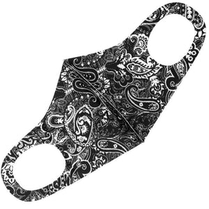 Black Paisley Face Mask front