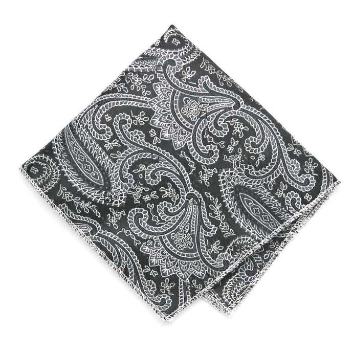 Black Clara Paisley Pocket Square