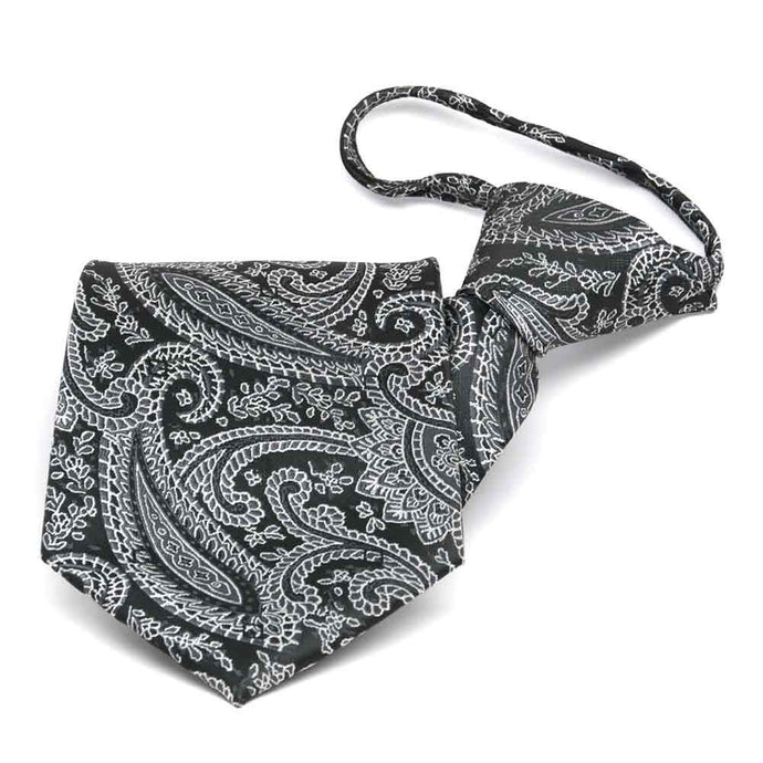 Black Clara Paisley Zipper Tie