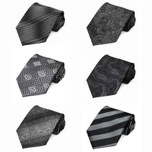 Load image into Gallery viewer, Black Pattern Neckties, 6-Pack