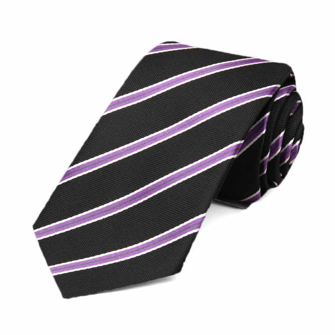 Black Melvin Stripe Slim Necktie, 2.5