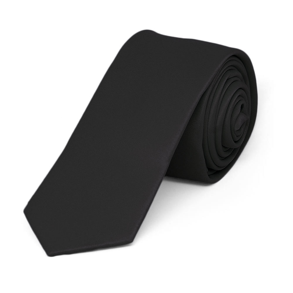 Black Skinny Solid Color Necktie, 2