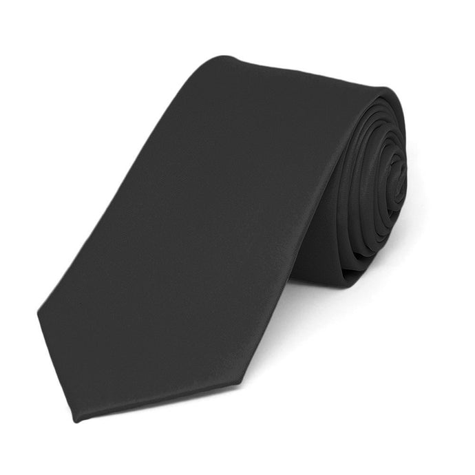 Black Slim Solid Color Necktie, 2.5
