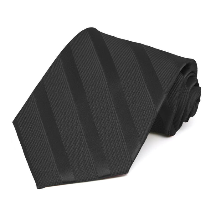 Black Elite Striped Necktie