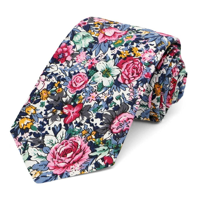 Brentwood Floral Cotton Narrow Necktie