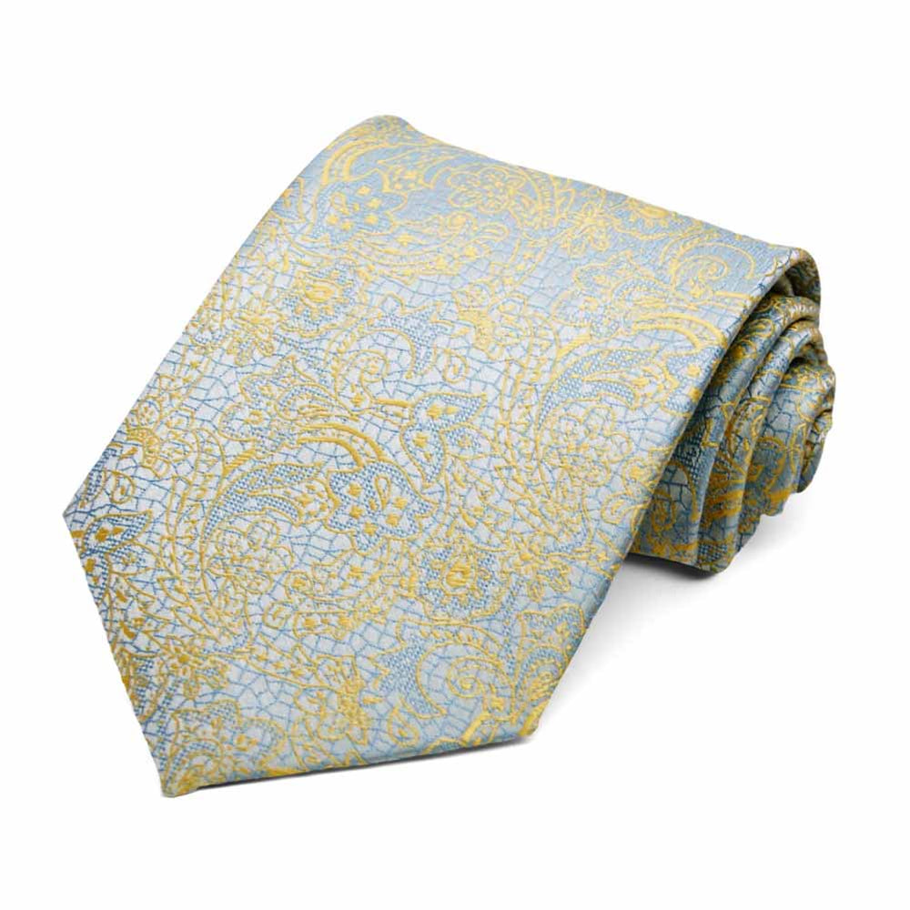Powder Blue and Butter Yellow Galway Floral Necktie