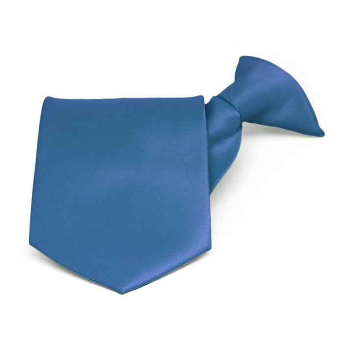 Blue Solid Color Clip-On Tie