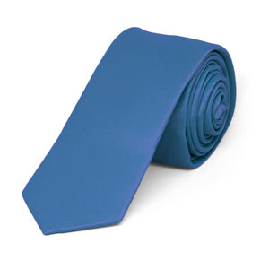 "Blue Extra Long Skinny Solid Color Necktie, 2"" Width"