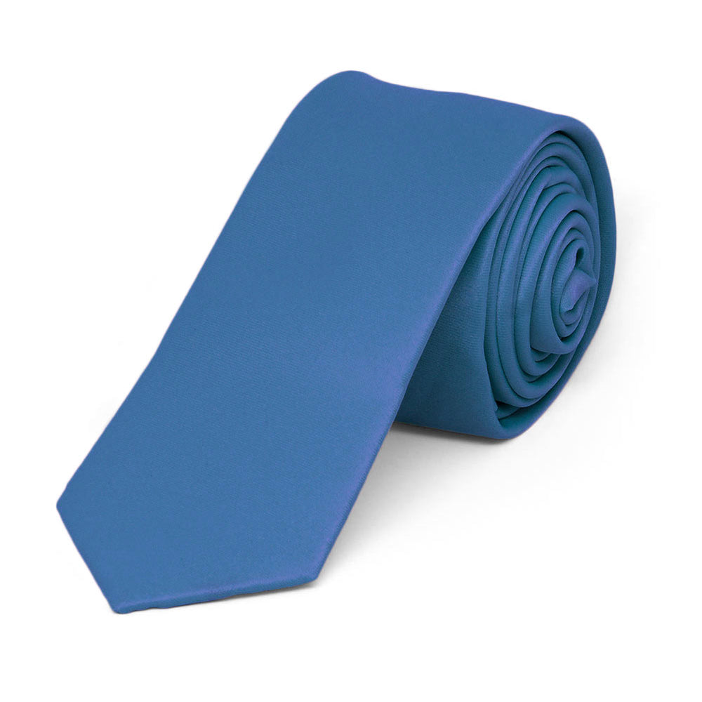 Blue Extra Long Skinny Solid Color Necktie, 2