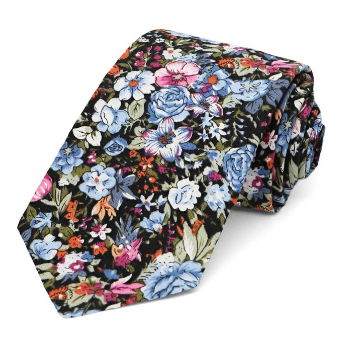 Maywood Floral Cotton Narrow Necktie