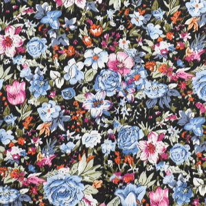 Dusty blue and black floral fabric