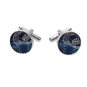 Blue Pattern Fabric Cufflinks