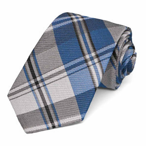 "Blue Animator Plaid Silk/Cotton Narrow Necktie, 3"" Width"