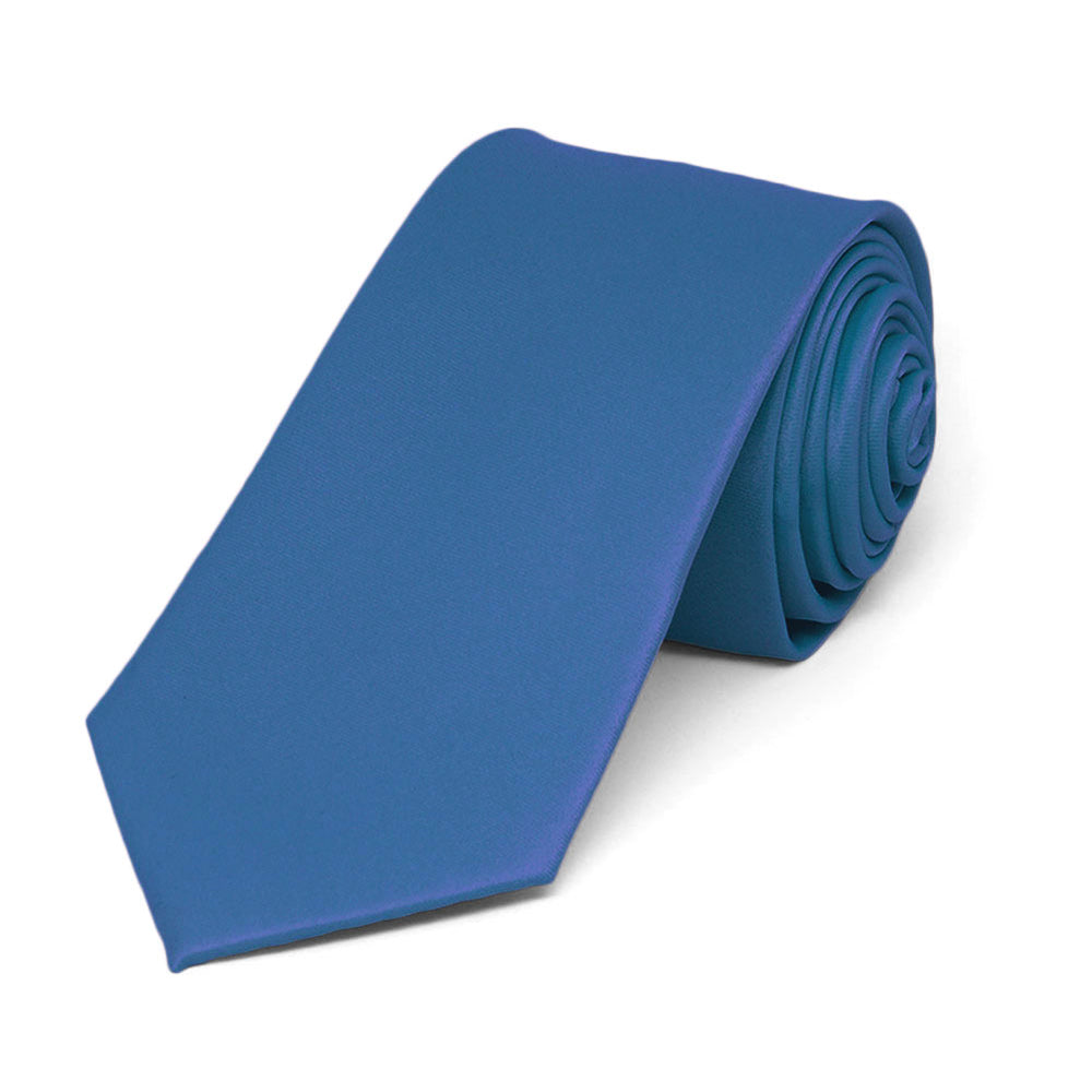 Blue Slim Solid Color Necktie, 2.5