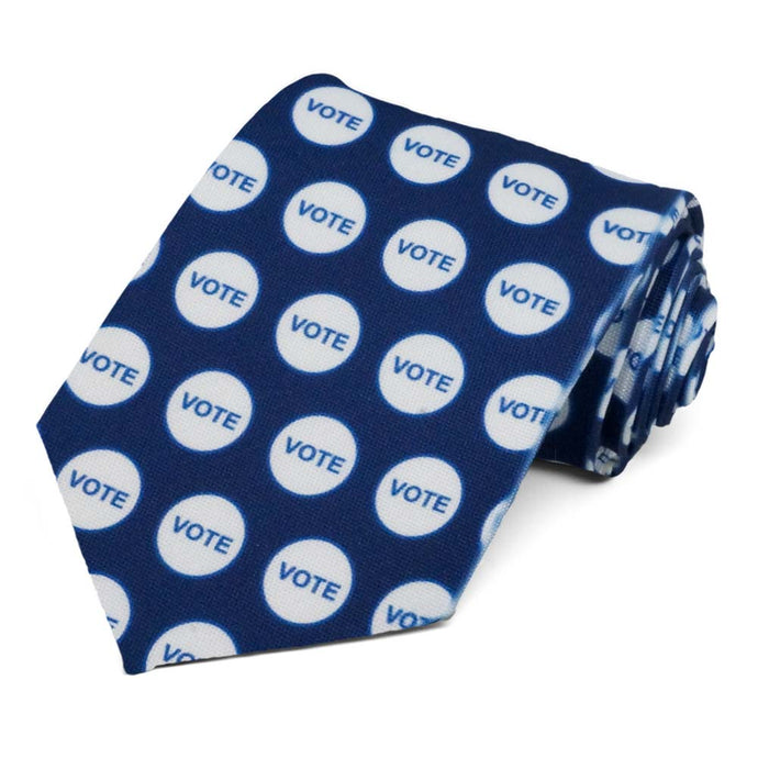 Blue vote sticker necktie