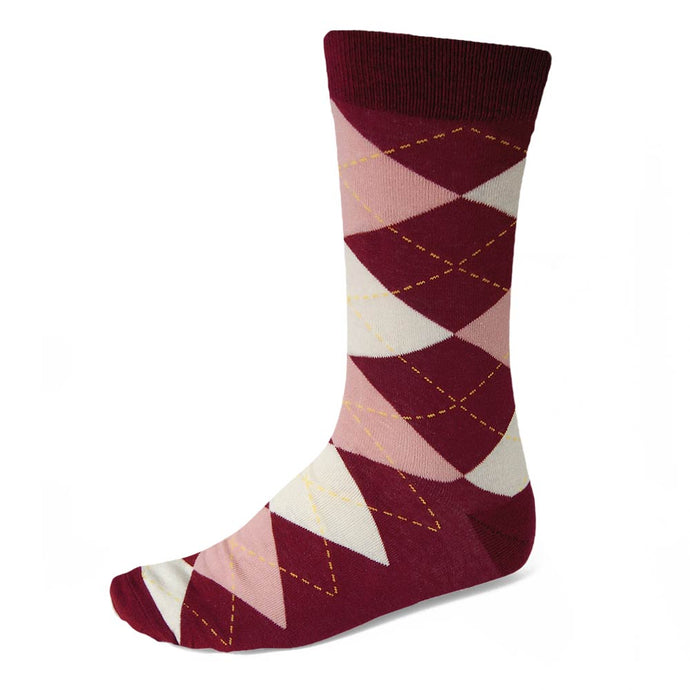 Men's Burgundy and Blush Pink Argyle Socks