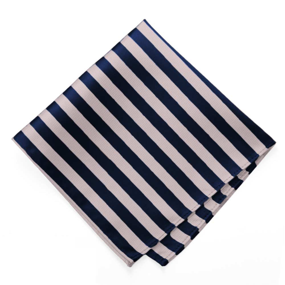 Blush Pink and Navy Blue Formal Striped Pocket Square