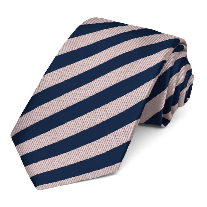 Blush Pink and Navy Blue Formal Striped Tie