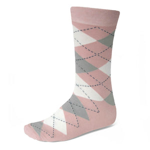 Men's Blush Pink and Gray Argyle Socks